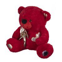 عروسک خرس قرمز پاپیون طلایی