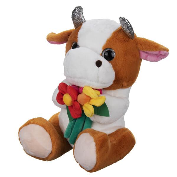 عروسک گاو گل به دست